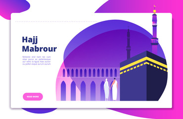 Hajj concept. Umrah hajj pray saudi people praying mabrour muslims travel makkah haram modern flat vector website design. Illustration of mecca for pilgrimage, haj muslim