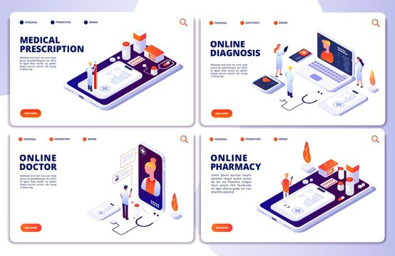 Vector online pharmacy, online doctor, web medicine landing pages. Illustration of medicine app, pharmacy and medical consultation