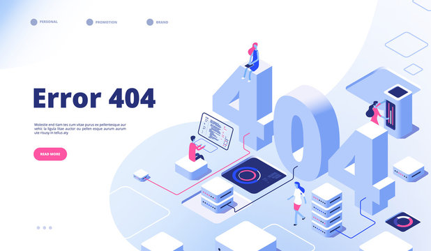 404 isometric page. Not working error lost not found 404 sign problem landing vector design. Illustration of 404 error page, 3d isometry webpage