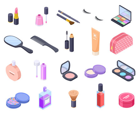 Isometric cosmetics. Cosmetic product bottle eyeshadow brush blush powder mascara makeup perfume pack balm. Beauty 3d vector isolated. Bottle and pack container for cosmetic illustration