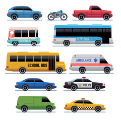 Car flat icons. Public city transport bus, cars and bike, truck. Vehicle vector cartoon symbols. Transport city car and bus, collection of automobile illustration
