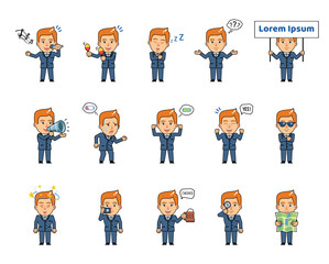 Set of chibi man characters showing different actions, emotions. Funny businessman holding loudspeaker, placard, camera, map, singing, tired and showing other actions. Simple vector illustration