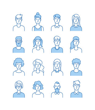 Outline avatars. Smiling young people icons user flat line man woman anonymous faces man woman cute guy web avatar profile vector set. Illustration of outline avatar, user woman and man