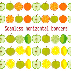 Seamless border, brush, ribbon of oranges, lime, apple. Vector. Pixel. Embroidery
