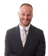 Elegant businessman smiling happy
