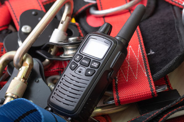 radio on the background of the system for climbing and equipment for climbers