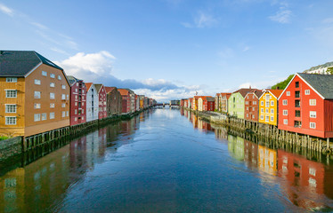 famous downtown with traditional wooden bridge houses in Trondheim, Norway,Scandinavia