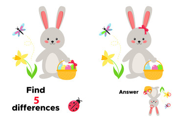 Cute cartoon kawaii rabbit with basket of Easter eggs. Educational game for children. Find 5 differences. Spring flowers - narcissus. Vector illustration.