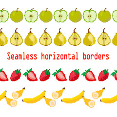 Fruits. Seamless borders stripe apple, pear, strawberry, banana. Pixel. Vector. embroidery