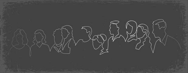 Group of people continuous one line vector drawing. Family, friends hand drawn characters silhouette clipart.