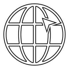 Arrow on earth grid Globe internernet concept Click arrow on website Idea using website icon black color outline vector illustration flat style image