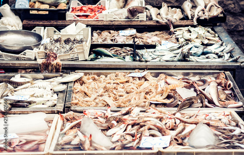 Fresh fish and seafood for sale in the fish market of Catania