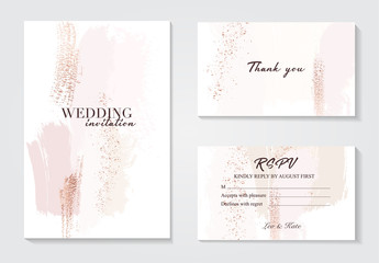 Vector watercolor brush strokes creative template. Moedrn wedding cards with marble texture and gold. Abstract design for cover, banner, invitation, card Branding and identity Vector illustration.