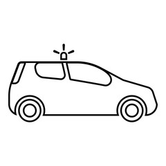Security car Police car Car with siren icon black color outline vector illustration flat style image