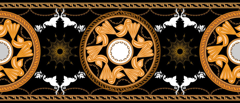 Horizontal seamless with Golden baroque and round ornament elements black color. Bird symbol. Vector illustration.