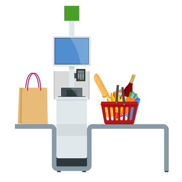 Isometric self-service cashier or terminal. Point with self-service checkout in the supermarket.