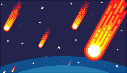 Starry and meteor rain in deep space.  Vector illustration flat design.