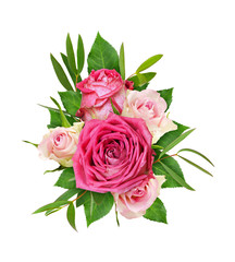 Beautiful pink and white rose flowers with eucalyptus leaves in a floral arrangement