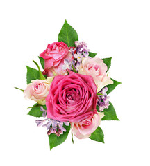 Beautiful pink and white rose flowers with lilac in a floral arrangement