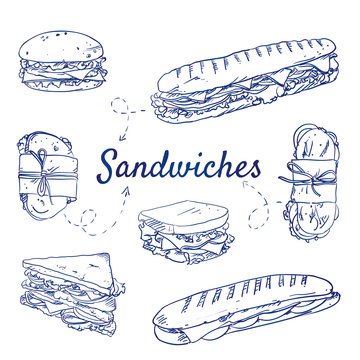DrucDoodle set of Sandwiches - food, toast, bread, breakfast, cheese, ham, onion, tomato, toast, lunch, tasty, salad, snack,  hand-drawn. Vector sketch illustration isolated over white background.k