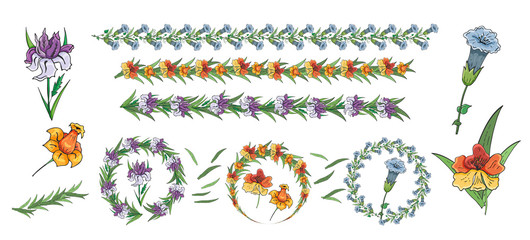 Floral garlands and wreath. Set of colorful floral brushes. Vector set of isolated hand drawn pastel floral elements for design