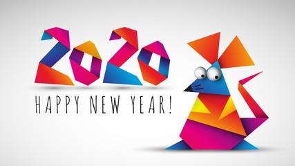 Chiński nowy rok 2020. Rok szczura. Ilustracja wektorowa.