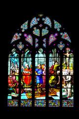 Quimper. Vitrail de la cathédrale saint Corentin. Finistère. Bretagne