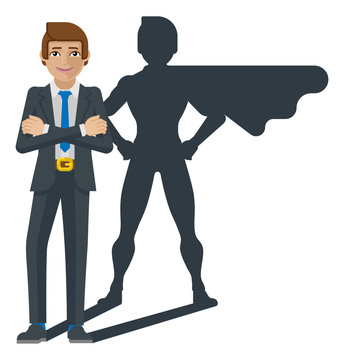 A super business man hero cartoon mascot whose shadow silhouette looks like a superhero businessman in a cape