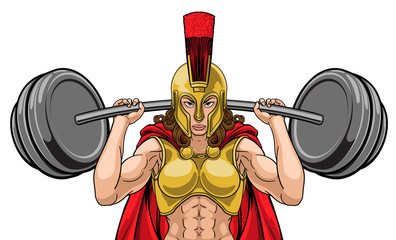 A woman female Spartan or Trojan warrior sports mascot lifting very large barbell