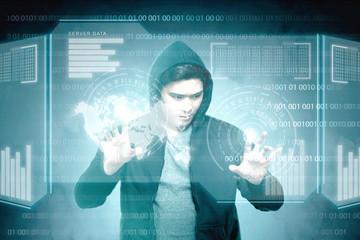 Young asian hacker in black hoodie touching virtual screen