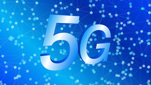 5G technology and mixed reality future 3d vector illustration