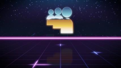 synthwave retro design icon of myspace