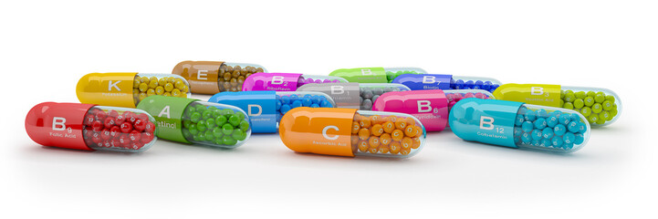 3d rendering of many vitamin capsules