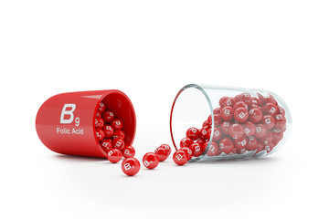3d rendering of a vitamin capsule with vitamin B9 - folic acid