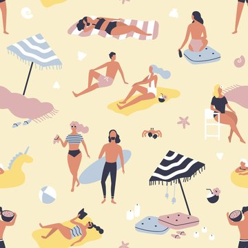 Seamless pattern with people relaxing on sand beach and sunbathing. Backdrop with men and women on vacation at seashore or summer resort. Flat vector illustration for wrapping paper, wallpaper.