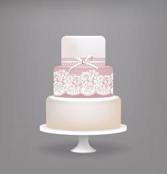 wedding cake with lace decoration