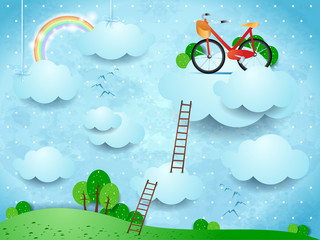 Fantasy landscape with stairways and bike over the clouds