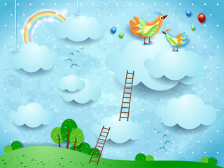Fantasy landscape with stairways and birds over the clouds