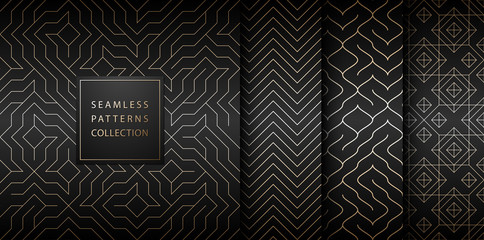 Tuinposter Kunstmatig Collection of seamless geometric golden minimalistic patterns. Simple vector graphic black print background. Repeating line abstract texture set. Stylish trellis gold square. Geometry web page fill.