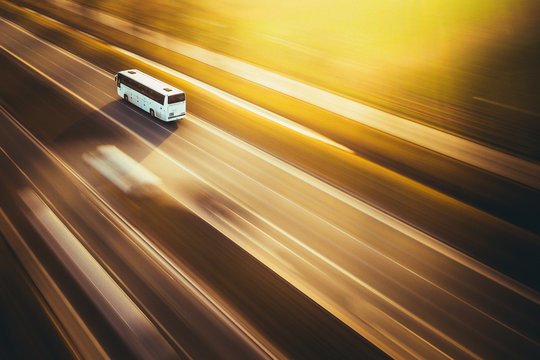 Fast bus - panning by drone