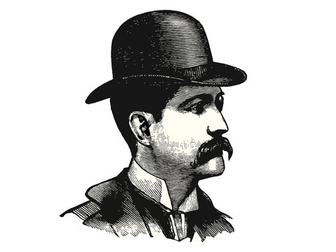 Vintage man with bowler hat and mustache