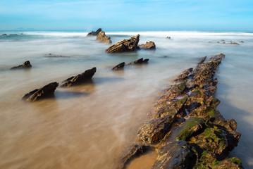 Beach of Barrika at low tide, Bizkaia, Spain