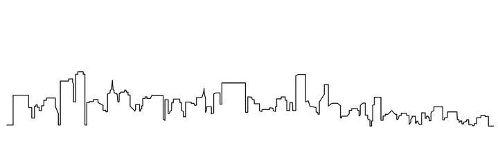 Fototapeta Modern cityscape continuous one line vector drawing obraz