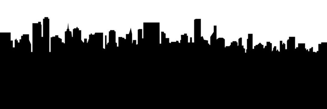 Modern cityscape black silhouette vector banner design.