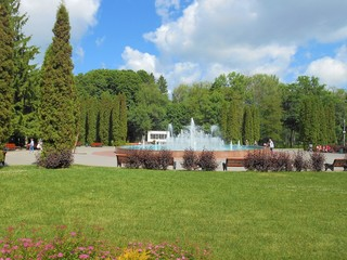 In the center of park with fountain, cypress and lavwn.