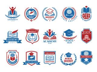 College emblem. School or university badges and labels vector logotype collection. School emblem, college badge and university label with shield illustration