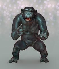 Schimpanse in kämpferischer Pose