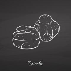 Brioche food sketch on chalkboard