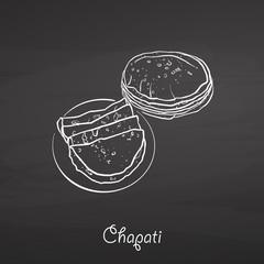 Chapati food sketch on chalkboard