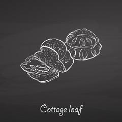 Cottage loaf food sketch on chalkboard